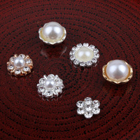 30pcs Lot Mixed Mini Metal Crystal Rhinestone Pearl Buttons Flower Centers  For Kids Girl Hairband c86f64340a80
