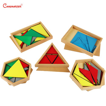Sensorial Montessori Wooden Toys for 3-6 Years Kids Math Materials Sensory Practice Home School Box Geometric Toy Games SE031-JZ wooden sensory toys box with sliding lid attention practice game baby boy 0 3 years home educational toy montessori