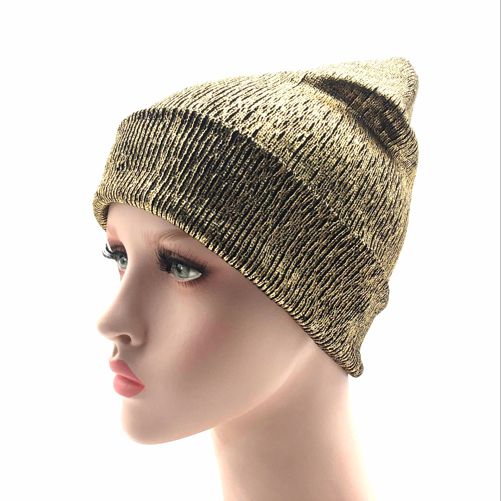 2018 new bronzing gold and silver with caps hat for women winter knitting warm hats female   skullies     beanies