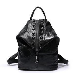 Image 2 - Brand new retro Genuine Leather Backpack Sheepskin lady Backpack Designer Travel Colorful Patchwork Luxury Shopper Bag Mochila