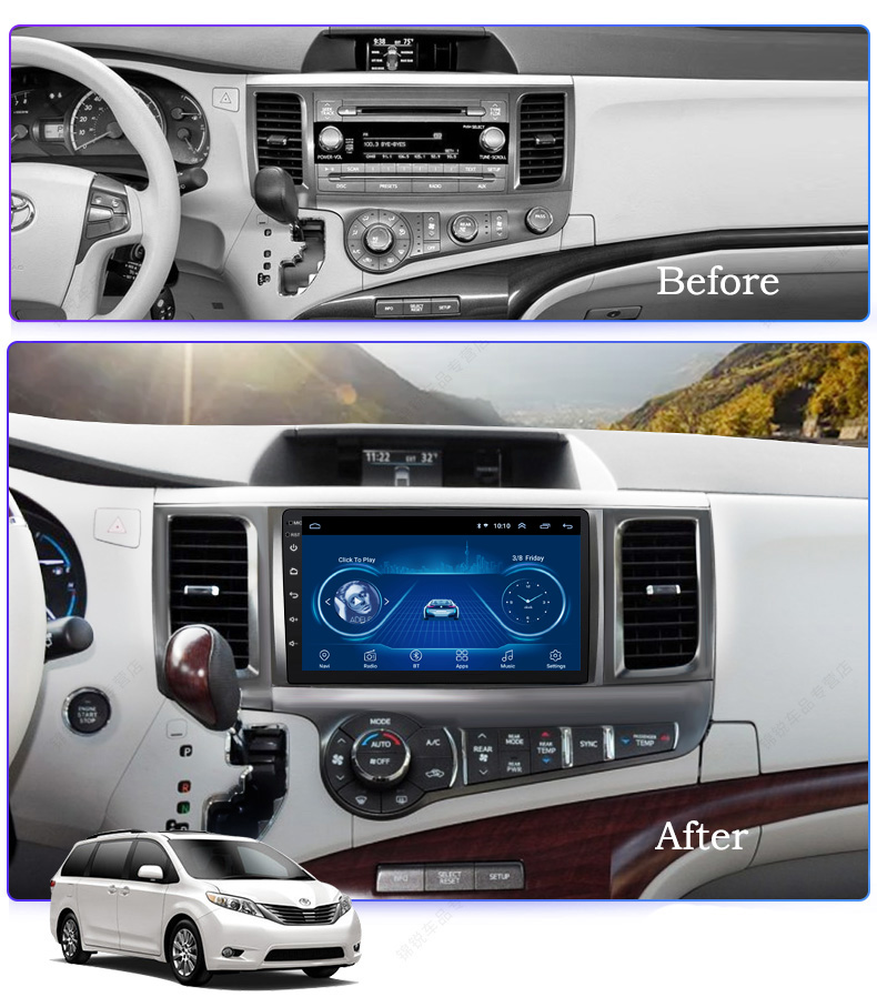 Super Slim Touch Screen Android 8.1 Radio GPS Navigation For Toyota Sienna 2011 + Headunit Tablets Stereo Multimedia Bluetooth