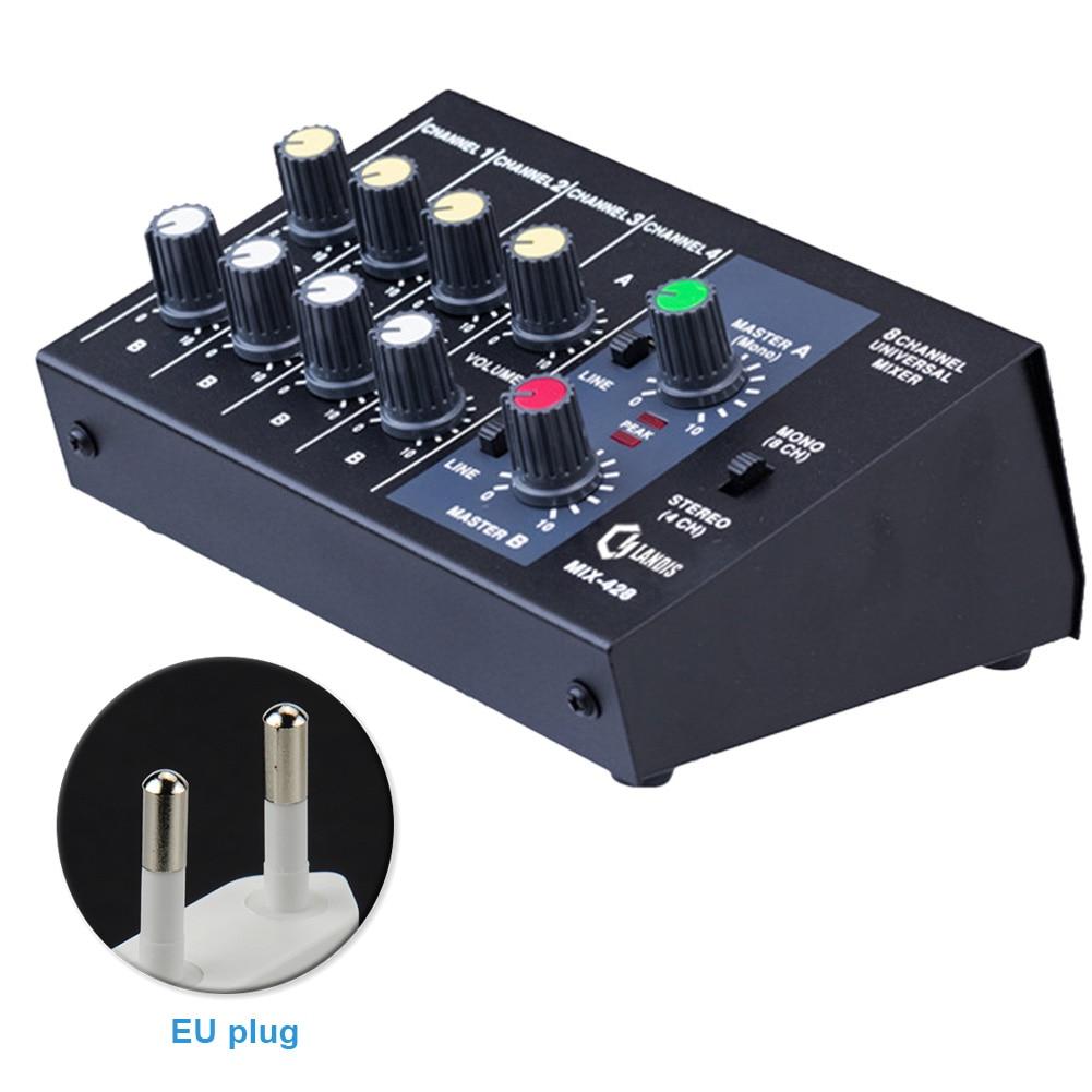 Dj-equipment Tragbare Dual Mic Eingänge Audio Sound-mixer Für Verstärker & Mikrofon Karaoke Ok Mischer