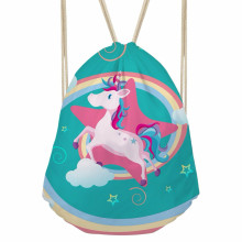ThiKin Cute 3D Cartoon Rainbow Unicorn Printed Women Drawstring Bags Travel Softback Girls Backpacks Harajuku Punch Pocket