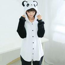 3c623645d9 Invierno Unisex Adultos Panda Pijamas Mujeres Pijama de Manga Larga Con  Capucha de Algodón Caliente Suave Franela Pijamas Para H..