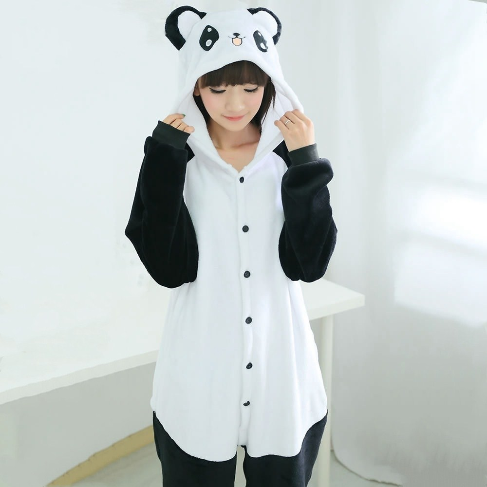 Winter Unisex Adult Panda   Pajamas     Sets   Long Sleeve Hooded Cotton Women Kigurumi Anime Flannel Pijamas Happy cat Sleepwear