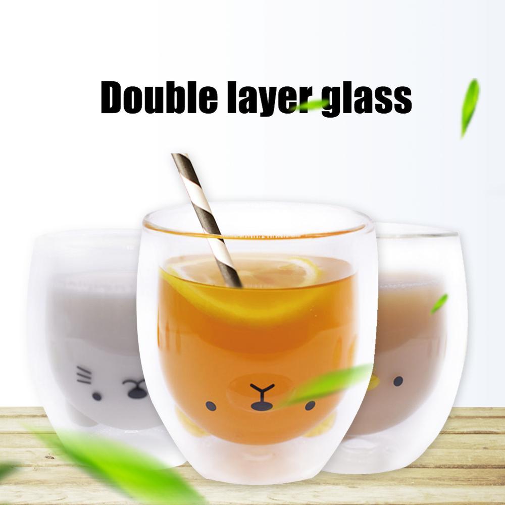 Inovador-Resistente Ao Calor De Vidro Bebida 200-300ml 3D Patinho Dupla-Camada Copo Gato de Urso Xícara de Café para As Famílias Festas E Bares