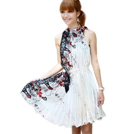 Free Shipping Plait Chinese Wind Restoring Ancient Ways Sleeveless Halter White Dress RG8118