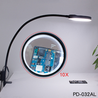 Desk Clip on Magnifying Glass Lamp Lighted Illuminated 10X Optical Magnifier for PCB Inspection Beauty Dentistry PD 032AL