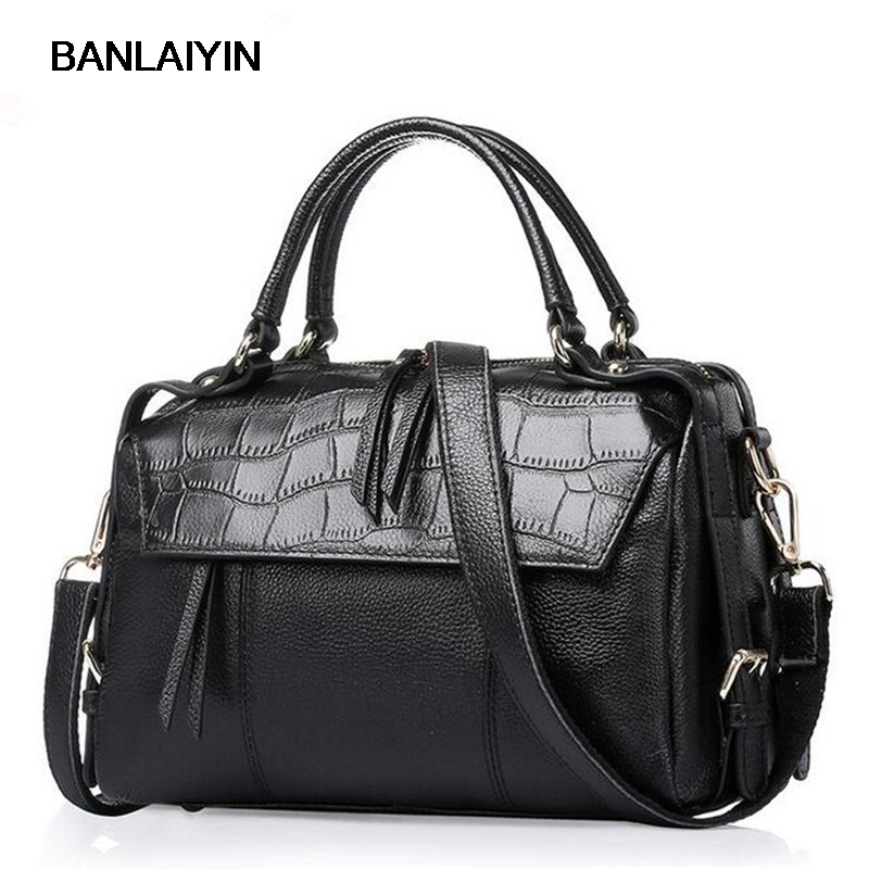 Brand Casual Genuine Leather Bags Women Handbag Crocodile Pattern Cowhide Leather Tote Bag Small Tassel Shoulder Messenger Bags new brand genuine leather women bag fashion retro stitching serpentine quality women shoulder messenger cowhide tassel small bag
