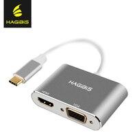 USB 3.1 Typ C USB-C Hagibis za pośrednictwem Przejściówki HDMI 4 K HD 1080 P 2 w 1 Chromebook USB-C Konwerter vga Kabel do Apple Macbook dell
