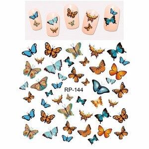 Image 3 - UPRETTEGO נייל אמנות יופי נייל מדבקת מים מדבקות מחוון קריקטורה חמוד פרפר חרקים RP139 144
