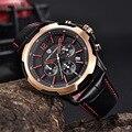 Watch Men Genuine Leather Waterproof Chronograph Sport Men's Watches Military Quartz Wristwatch Clock Pagani Design reloj hombre