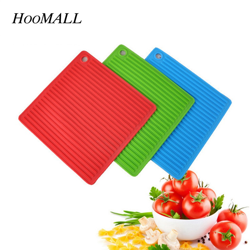 Hoomall 1Pc Silicone 17*17cm Silicone Place Mats Heat Resistant Non Slip Table Mats Kitchen Dishes Pots Insulation Pads