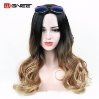 Wignee High Temperature Synthetic Women Wigs Ombre Color Natural Black To Brown Light Brown Cosplay Hair