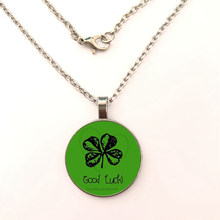 Fashion Flower Lockets Necklace Four Leaf Clover Glass Cabochon Wish Bottle Pendant Necklace Jewelry Plant Flower Pendant(China)