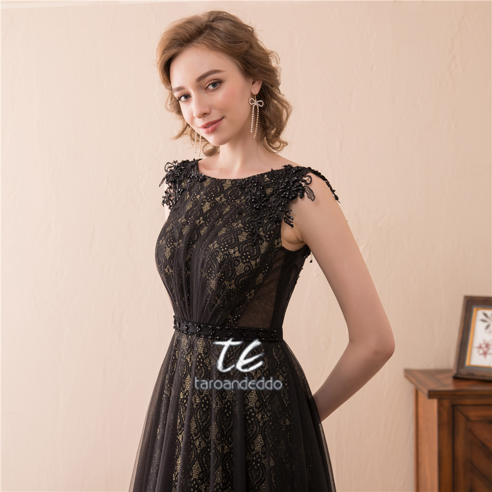 High neck sleeves black and gold lace bridesmaid dress beading belt high neck sleeves black and gold lace bridesmaid dress beading belt evening wedding party dress vestido de formatura in bridesmaid dresses from weddings ombrellifo Images