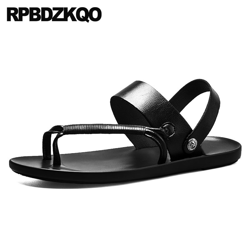 Men Sandals Leather Summer Runway Water Slippers Designer Slides Waterproof Black Flat 2018 Breathable Casual Brown Shoes Strap