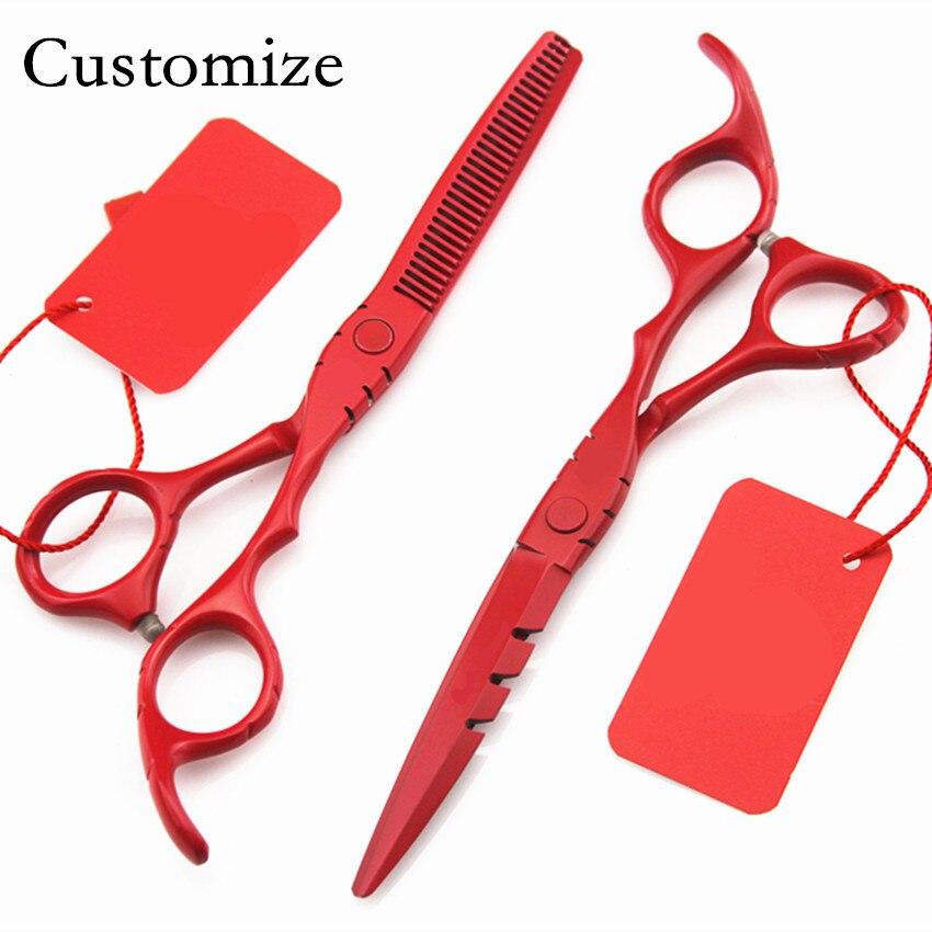 Custom 440c 6 5,5 дюйм BLACK RED кескіш қайшы - Шаш күтімі және сәндеу - фото 2