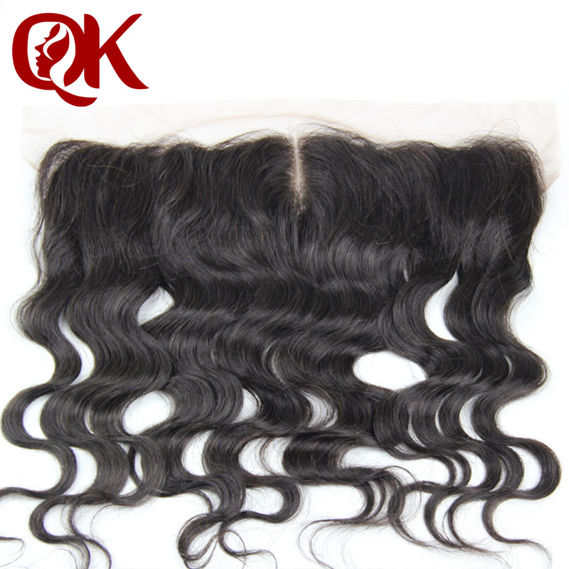 QueenKing Hair Pre Plucked 13x4  Lace Frontal With Baby Hair Peruvian Remy Human Hair Body Wave Natural Black Lace Front Closure