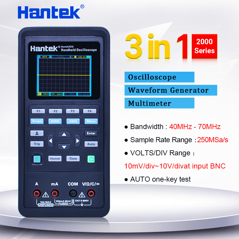 Hantek handheld Osciloscópio multímetro digital + Gerador de forma de Onda 3 in1 osciloscópio automotivo 2 Canais 40 ~ 70 mhz display LCD