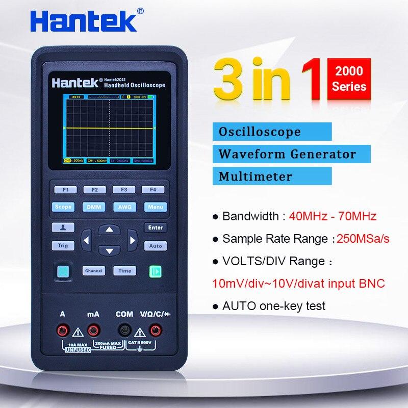 Hantek handheld digital osciloscópio multímetro + gerador de forma de onda 3 in1 osciloscópio automotivo 2 canais 40 70 70mhz display lcd