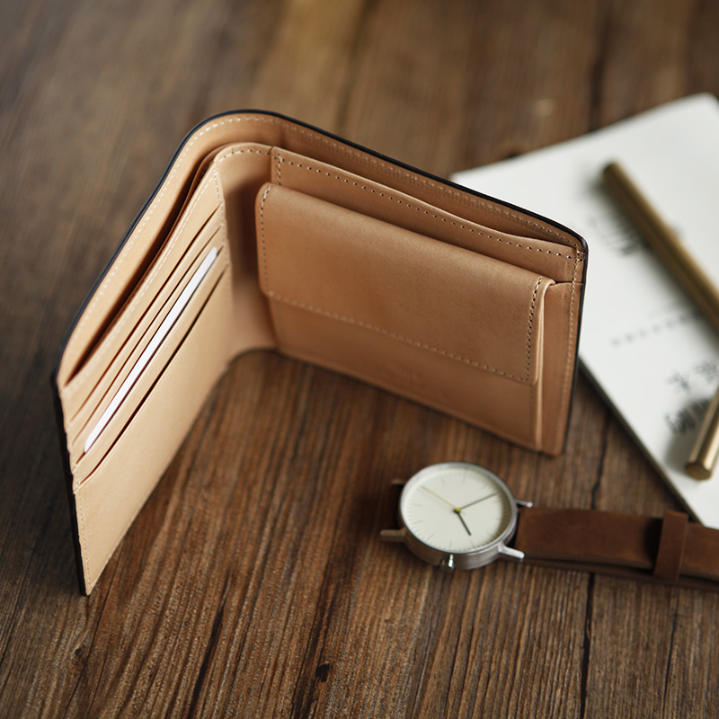 LANSPACE mens crup leather wallet handmade short purse brand high quality wallet