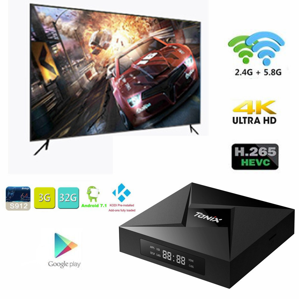 Tanix TX9 Pro TV Box Android 7.1 OS RAM 3G 32G ROM Amlogic S912 octa-core Bluetooth 4.1 1000M LAN Pk M8S Pro KII Pro décodeur