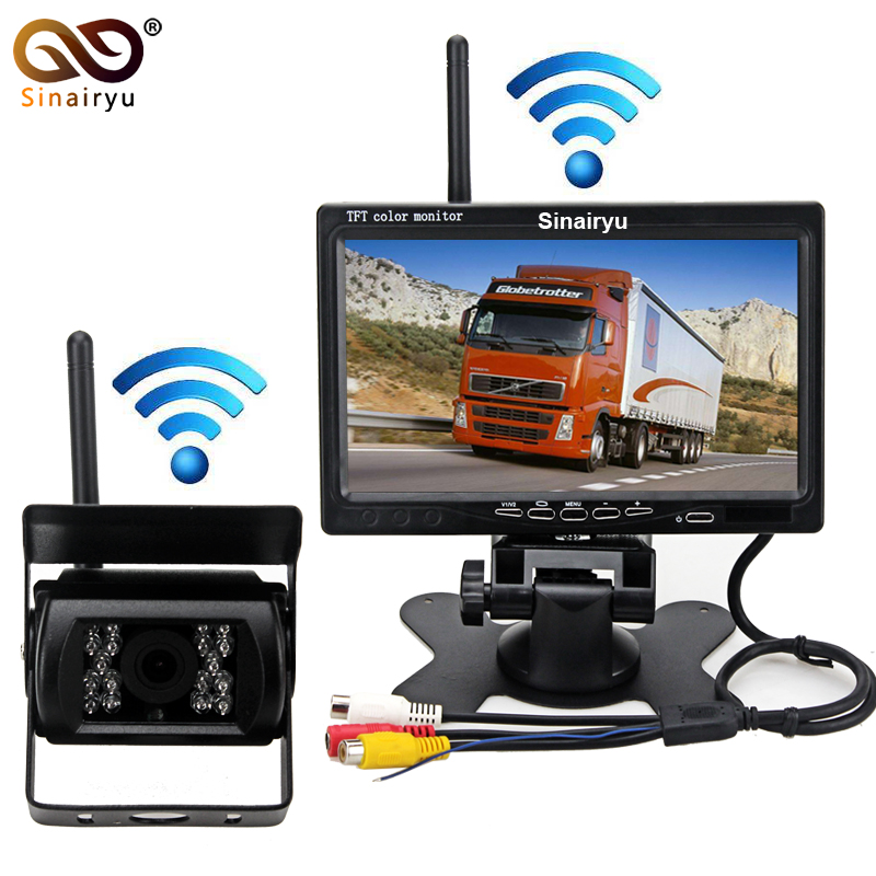 DC 12-24V 7inch HD Car Monitor + IR Night Vision CCD Car Backup Camera Wireless Parking Kit For Car Bus Truck Caravan Trailer diykit wired 12v 24v dc 9 car monitor rear view kit backup waterproof ccd camera system kit for bus horse trailer motorhome