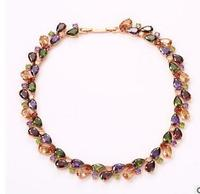Luckyshine Blendend Feuer Regenbogen Kristall Zirkonia Rose Gold Anhänger Halsketten Russland Kanada Anhänger Halsketten