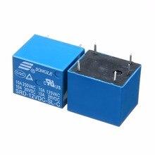 цена на Miniature Power Relay 2PCS / 5PCS / 10PCS SRD-12VDC-SL-C Power Relay T73-12V 10A 5 Pins Electrical Equipments