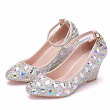 2019 New White Crystal Sexy Women Pumps 8 CM High Heels Wedding Wedges Shoes Bridal Rhinestone Sequin Shoes XY-A0304 цена
