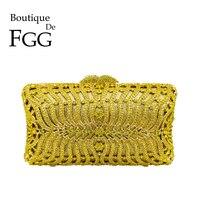 Boutique De FGG желтый бриллиант Для женщин вечерние вечерний клатч в стиле minaudiere металла расшитая кристаллами Сумочка клатч свадебные сумочки Св