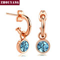 ZHOUYANG Simple Style Blue CZ Cystal Top Quality  Rose Gold Plated Drop Earrings For Women Wedding Party Gift Wholesale ZYE072
