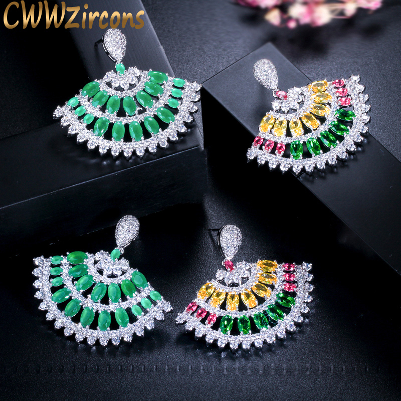 CWWZircons Beautiful MultiColored Cubic Zirconia Jewelry Fan Shape Fashion Brand Big Green CZ Wedding Earring for Women CZ144