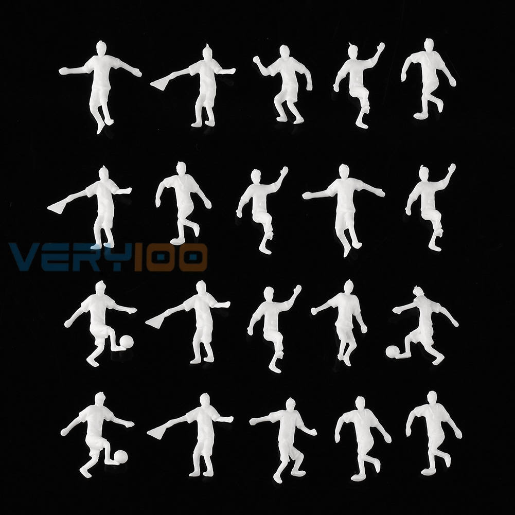 New White 20 pcs 1:75 OO Scale Football Soccer Player People Figures