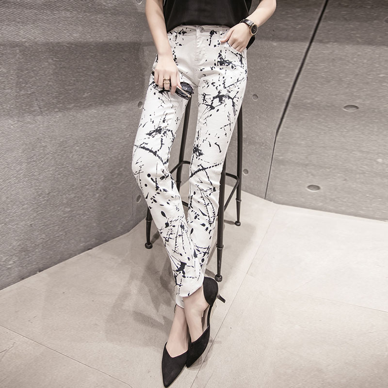 2018 New Fashion Slim Printed White Denim Jeans Woman Skinny Jeans Pants American Appare ...