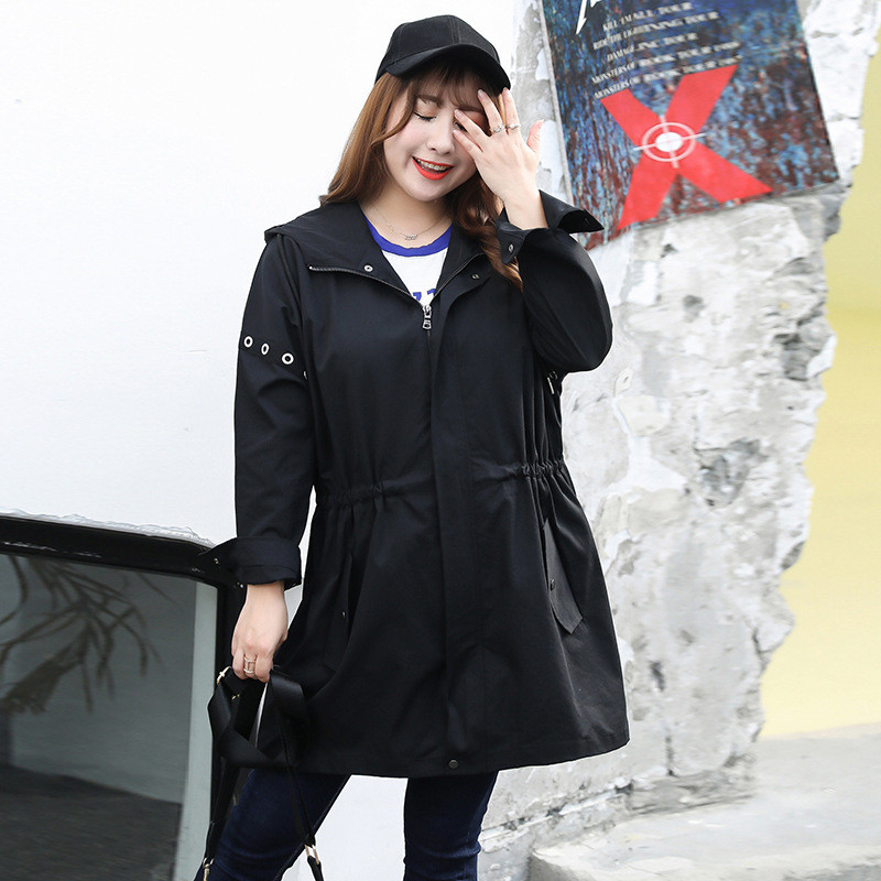 2019 NEW Fashion Oversized   Trench   Coats Spring Autumn Women's Clothing Casual Plus Size Long Sleeve Hooded Black Outerwear V744