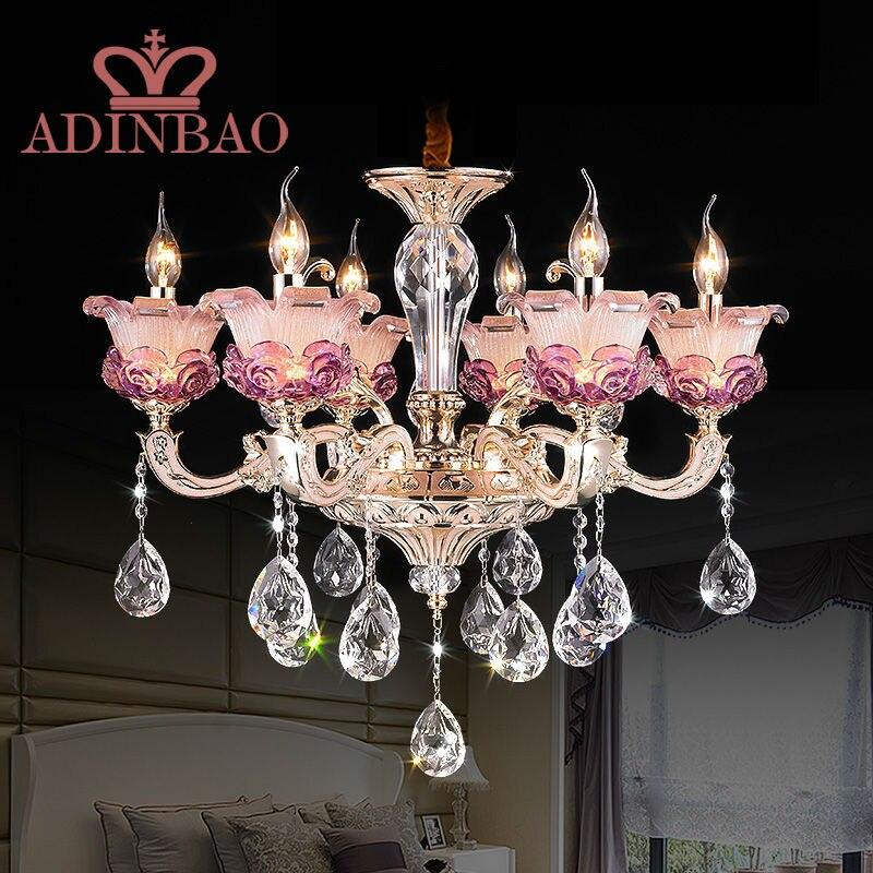 promotion luxury champagne pink purple color K9 crystal chandeliers lustres de cristal candle bulb chandelier romantic 8531-6 novatrack transformers x63233 k pink purple