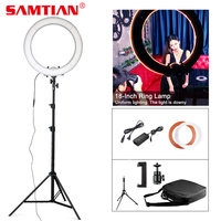 SAMTIAN 18 LED Ring Lamp Dimmable Annular Make up Lamp With Tripod Studio LED Ring Photography Lighting For Photo/YouTube