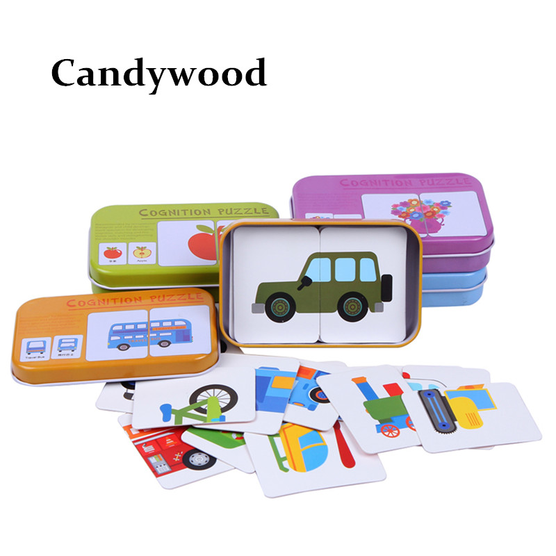 Graph Match Game Puzzle Card with Iron Box for Children Jigsaw Puzzle Early Educational Montessori Toys Wooden toys for kids 2~4