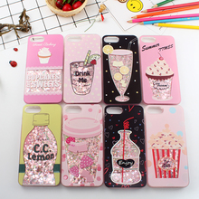 Cyato Cute Liquid Quicksand case for iphone X 10 Drink Bottle cover 6 6s Ice Cream bling capa 7 8 plus
