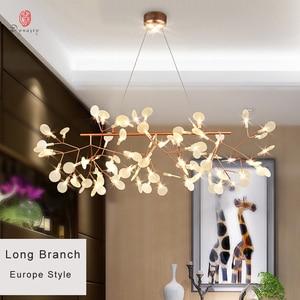Image 3 - Sztuka dekoracyjna gałązka oliwna wisiorek styl europejski led wiszące lampy pozostawia przedpokój salon Lobby AC110/220 V Cafe Dynasty uwalnia statek