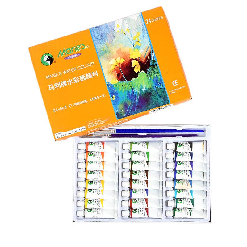 Marie's 12/18/24Colors Watercolor Painting Paint Set High Quality Transparent 5ML Watercolor Pigment For Artist School Student