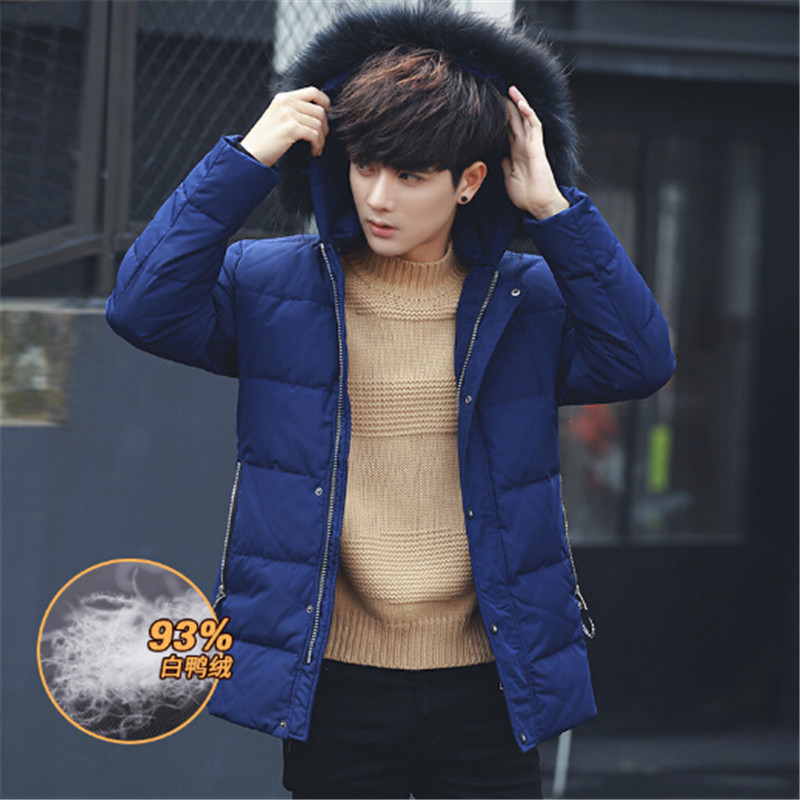 New Fashion 2016 winter high quality 90% White duck down trench coat & Down jacket men Warm Clothes Raccoon fur collar