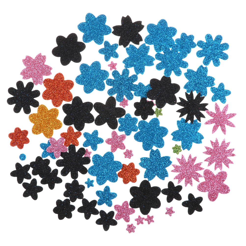 50PCS(1bag)/LOT,Glitter Foam DIY. Flower Stickers, Kids Toy.Early Educational Cheap.Kindergarden Craft.Scrapbooking Kit New