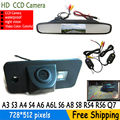 Wireless Color CCD Car rear view camera for AUDI A3 S3 A4 S4 A6 A6L S6 A8 S8 RS4 RS6 Q7  4.3 Inch Rearview Mirror LCD Monitor