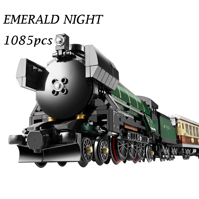 21005 Technic Series Emerald Night Train Model Building Kits Block Bricks Toys for Children gift Compatible with lego 10194 hot 378pcs technic motorcycle exploiture model harley vehicle building bricks block set toy gift compatible with legoe