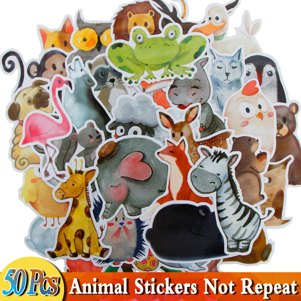 18 / 50 PCS Mix Styles Cute Watercolor Animal Sticker Neon Light Word Group Warnings DIY Stickers for Laptop Car Luggage Bike
