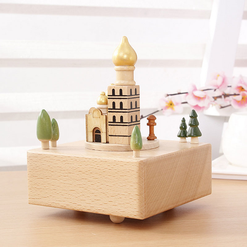 1 Piece Solid Wood Church Music Ofbox Classic Toy For Children Wind Up Toy Clockwork Handmade Creative Birthday Gifts With Music