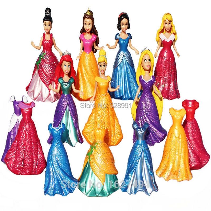 9cm Princess Magic Clip Dress Anime PVC Action Figures